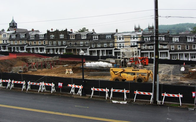 A former parking lot and three buildings owned by Lehigh University have become a construction zone May 17, 2018, as work progresses on the new $48.3 million SouthSide Commons residence hall along Brodhead Avenue. (Kurt Bresswein | For lehighvalleylive.com)
