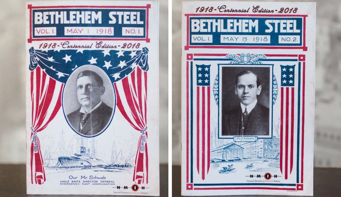The National Museum of Industrial History in Bethlehem is reproducing the original 16-issue 1918 run of the Bethlehem Steel employee newsletter. The first two issues are already on sale at the museum. (Courtesy of the National Museum of Industrial History)