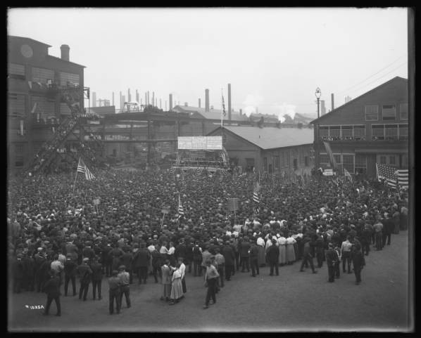 A patriotic meeting from 1918, around the end of World War I, is seen at the former Bethlehem Steel Corp.'s Lehigh Plant.