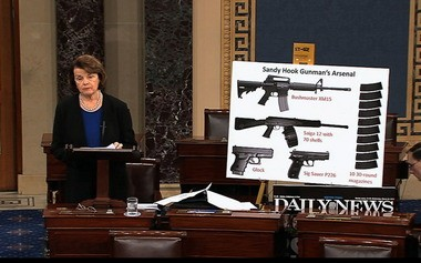 This video frame grab provided by Senate Television shows Sen. Dianne Feinstein, D-Calif., using a poster of weapons as she speaks about gun legislation.