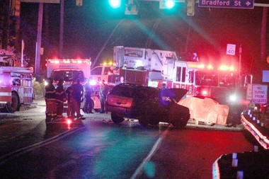 Police and emergency crews respond Monday night to a fatal accident in Allentown.