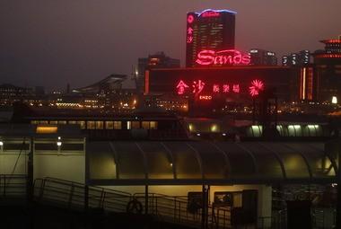 The Sands Casino complex is lit up in Macau.