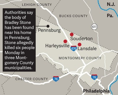 Authorities say the body of Bradley Stone was found near his home in Pennsburg, Montgomery County, a day after he allegedly killed six people Dec. 15, 2014, in three municipalities across the southeastern Pennsylvania county.