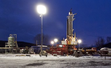 A hydraulic fracturing, or fracking, natural gas extraction site is shown Jan. 17, 2013, in New Milford, Pennsylvania.