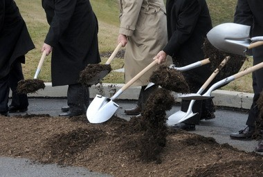 High winds today meant today's groundbreaking was relocated into the parking lot at Porsche Logistics. Officials say the Route 33 interchange is integral to the development of the Chrin Commerce Center.