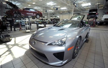 A Lexus LFA is on display in September 2012 at Lexus of the Lehigh Valley.
