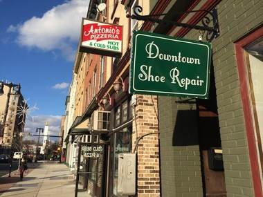 Antonio's Pizzeria and Downtown Shoe Repair are across South Third Street from the Easton Intermodal Center.