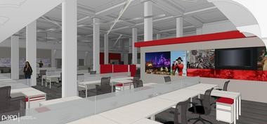 A rendering of the first floor of the Alpha Building shows the work space for the advertising and content teams for lehighvalleylive.com and The Express-Times.