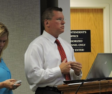 Ted Hughes from Constellation NewEnergy pitches an $8 million plan to the Easton Area School Board for energy efficiency upgrades on June 10, 2015.