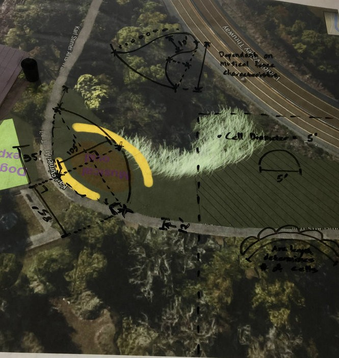 Rough sketch of the location and measurements of the musical playground. The musical playground will be found at the Karl Stirner Arts Trail in Easton, Pa. (Photo courtesy KSAT Musical Playground)