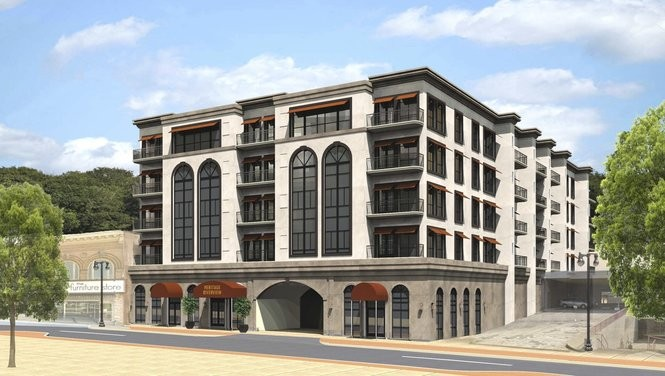 A May 12, 2017, rendering of the Heritage Riverview condo project planned for the 100 block of South Third Street in Easton. It is planned for five stories above the first but the rendering only shows four. (Courtesy image | For lehighvalleylive.com)