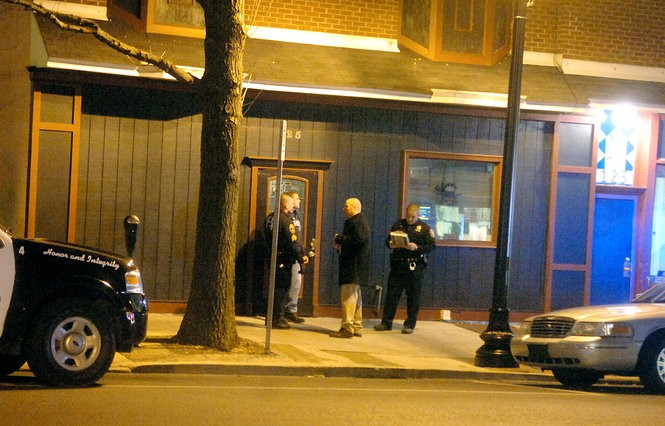 Easton police respond March 30, 2009, to the homicide of 24-year-old Miguel Aponte Jr. at the Easton Cafe, 125 Northampton St. (Lehighvalleylive.com file photo)