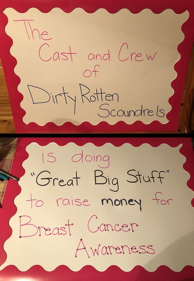 """The cast of the Easton Area High School musical """"Dirty Rotten Scoundrels"""" is raising money for a cast member's parent who suffers from cancer."""