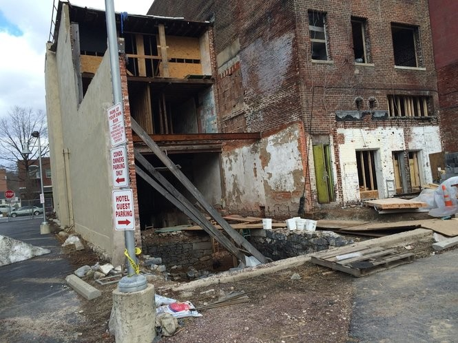 The rear of 120 Northampton St. was gone, as seen in this 2016 photo, but it now has been rebuilt. (Tony Rhodin | For lehighvalleylive.com)