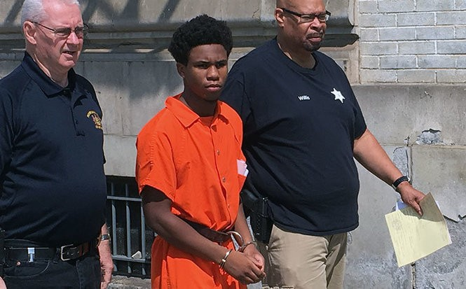 Jaquan Harris, 17, of Easton, on Aug. 9, 2018, is escorted from District Judge Antonia Grifo's court in the city's Downtown after giving up his right to a preliminary hearing on aggravated assault and related charges. (Tony Rhodin | For lehighvalleylive.com)