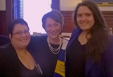 WCCC Students Penelope Griffin, left, and Olga Brenich, right, with Amy Cradic, deputy Chief of Staff for Policy and Cabinet Liaison for the State of New Jersey.