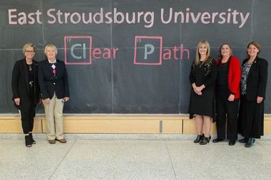 East Stroudsburg University was awarded a $4 million National Science Foundation grant to provide transfer students a clear path to degrees in the STEM-fields. From left, university President Marcia G. Welsh, Joanne Z. Bruno, provost and vice president for academic affairs, T. Michelle Jones-Wilson, associate professor of chemistry and director of biological chemistry programs, Olivia Carducci, associate professor of mathematics and Bonnie A. Green professor of psychology. (Courtesy photo | For lehighvalleylive.com)