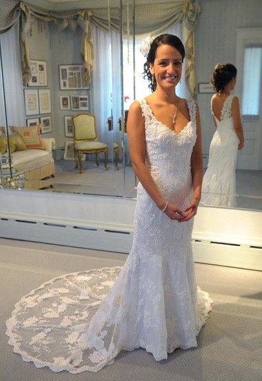 """Kristi Noto-Steuer, of Palmer Township, wears a dress referred to as """"Delicate Bride"""" Friday afternoon at Deborah Lopresti-Designer for Brides. Redesigned dresses start at $1,000."""