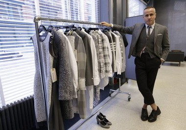 Fashion designer Thom Browne, a native of Allentown, poses in his Hudson Street store in New York.