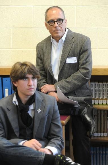 David Hajdu spoke to students, including sophomore Nick White last week at Delaware Valley Regional High School.