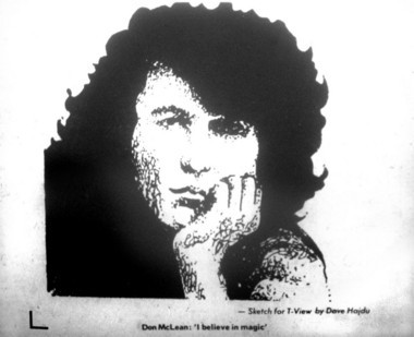Hajdu published this sketch of Don McLean in a June 1973 edition of the Easton Express.