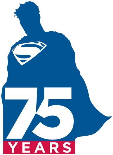 """This illustration released by DC Entertainment shows a logo commemorating the 75th anniversary of Superman. Its first appearance will be on the cover of """"Superman Unchanged"""" by DC co-publisher Jim Lee and writer Scott Snyder on June 12, along with a new animated short being produced by Zack Snyder, which will debut at San Diego Comic-Con in July."""
