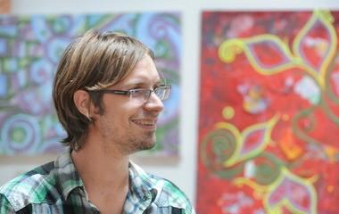 Artist Joseph Ryan Gourniak discusses his works in his studio at Bullseye Art in Easton.