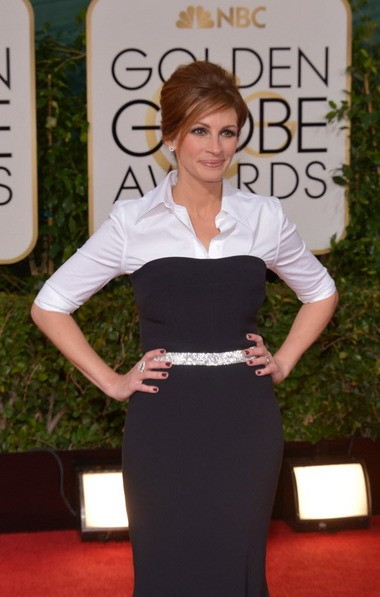 Julia Roberts arrives at the 71st annual Golden Globe Awards at the Beverly Hilton Hotel on Jan. 12.