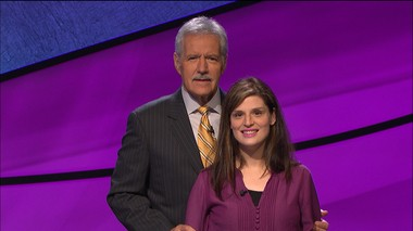 Elisa Korb, of Bethlehem, poses with Jeopardy! host Alex Trebek before a taping of the show that aired Sept. 29.