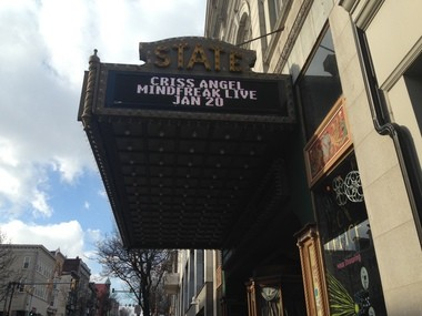 Criss Angel's name appears on the side of the State Theatre marquee. The illusionist's name first appeared on the marquee more two decades ago.