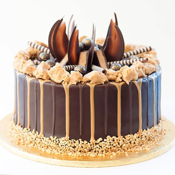 """The chocolate peanut butter mousse cake encased in Belgian chocolate from Vegan Treats sampled by the hosts of """"The View."""""""