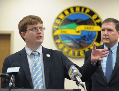 Pohatcong Township Mayor James Kern, left, and New Jersey state Sen. Michael Doherty, right, held a news conference this week to discuss the future of the red light camera program in the township.