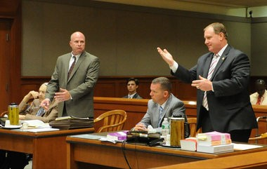 Defense attorney Brian Corley White, standing left, and Warren County First Assistant Prosecutor Michael McDonald address the court during former Warren County sheriff Edward Bullock's July 2015 trial on charges he sexually assaulted a boy in the 1980s. (Sue Beyer | For lehighvalleylive.com)