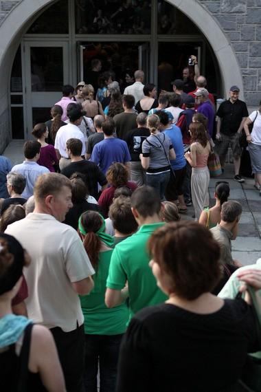 Attendees mingle at the SouthSide Film Festival in Bethlehem.