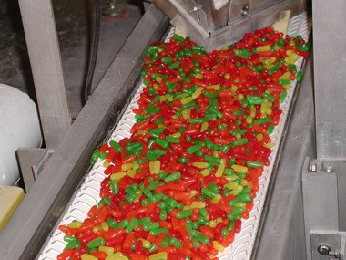 Mike & Ikes being made in the Just Born Candy manufacturing facility.