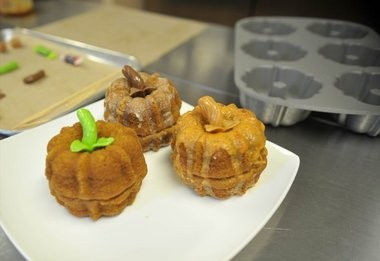 Jen Rao, owner of Around the World in 80 Cakes in Washington, makes Pumpkin Bundt Cakes as an alternative to the traditional pumpkin pie.