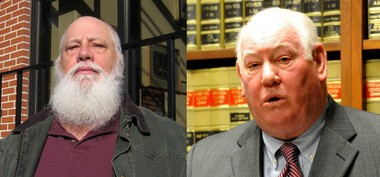 Macungie Mayor Rick Hoffman and Lehigh County District Attorney Jim Martin, right, are at odds over Hoffman's access to police information.