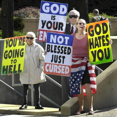 Members of Westboro Baptist Church demonstrate in Maryland.