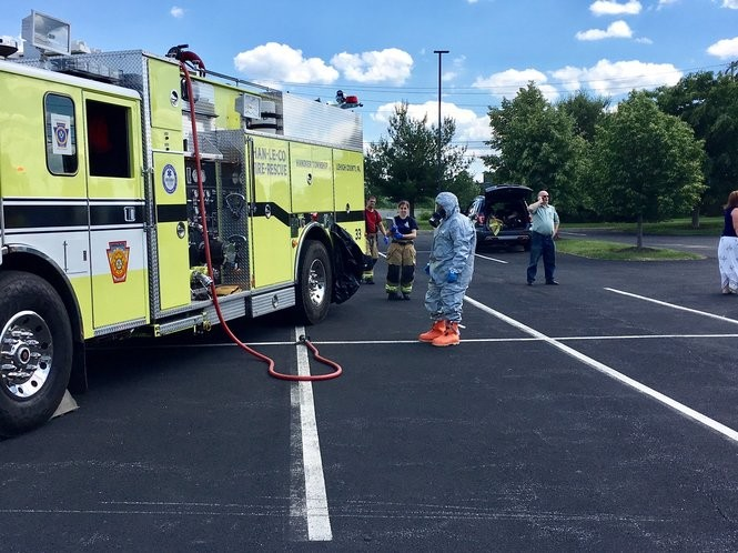 Lehigh County's hazmat team and fire crews responded to a chemical leak June 1, 2017, behind a Hanover Township, Lehigh County office building. (Sarah Cassi | For lehighvalleylive.com)