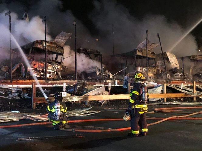 A Parkland High School bus depot and several buses were destroyed by fire early in the morning of Feb. 23, 2018, in South Whitehall Township. (Mike Nester | lehighvalleylive.com contributor)
