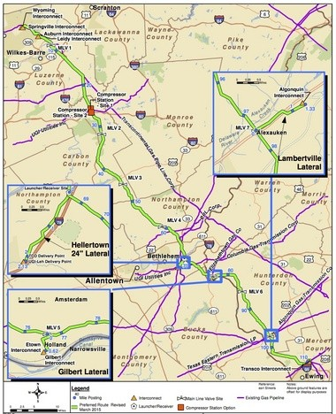 The most recent route of the PennEast pipeline was released March 30, 2015, based on feedback from various agencies and landowners. (PennEast Pipeline Co. map)