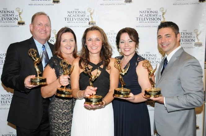 "Celebrating the ""DISHcover Lehigh Valley: Porters' Pub"" 2015 Mid-Atlantic Region Emmy are, left to right, associate photographer Jeff Countess and associate producer Marta Countess, from Allentown-based Countess Communications; producer/host Kim Lilly, of Discover Lehigh Valley; and director Julia Urich and photographer Rocky Urich, of Emmaus-based FireRock Productions. (Courtesy photo 