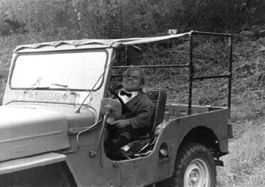 Mace Bugen in his Jeep. The first Jeep he had was customized by an engineer at Ingersoll Rand in Phillipsburg, according to the book. (Photo courtesy of The Sager Group)
