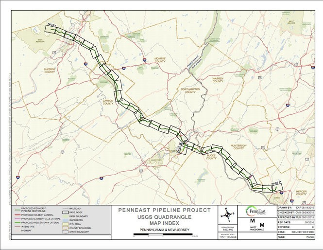 The proposed route for PennEast Pipeline is seen as of November 2016. Visit penneastpipeline.com for a more detailed map. (Courtesy image   For lehighvalleylive.com)