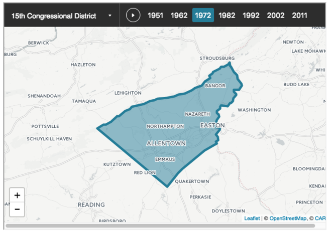This map represents the 15th Congressional District in 1972, to which Northampton County belonged for 40 years. The 2010 census split the county into two districts - with 52 percent staying in the 15th Congressional district that now stretches from Allentown to Hershey and the other 48 percent going to the 17th district which goes from Easton to the Wilkes-Barre/Scranton area. (Courtesy photo from Fair Districts PA)