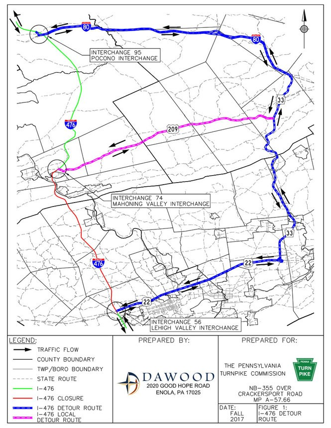 This shows authorized detour routes during the closure of the Pennsylvania Turnpike Northeast Extension (Interstate 476) scheduled 9 p.m. Friday, Sept. 29, through 4 a.m. Monday, Oct. 2, 2017, between the Lehigh Valley and Mahoning Valley interchanges as part of the replacement of the bridge over Crackersport Road in South Whitehall Township. (Courtesy photo   For lehighvalleylive.com)