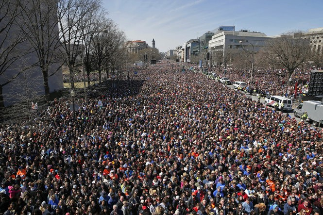 The crowd fills Pennsylvania Avenue in Washington, D.C., during the March for Our Lives rally in support of gun control. (AP Photo/Alex Brandon)