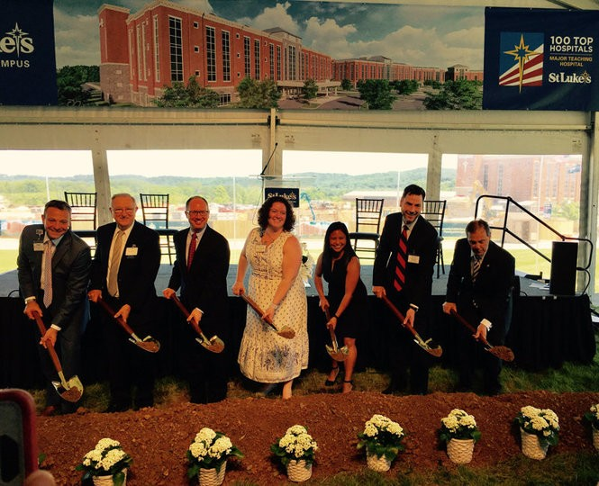 St. Luke's leaders break ground on the expansion of its Bethlehem Township hospital on June 12, 2018.