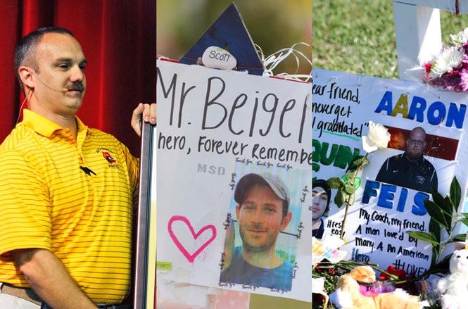 Marjory Stoneman Douglas High School hero Chris Hixon, left, is seen alongside memorials to fellow coaches Scott Beigel and Aaron Feis. They were among 17 people murdered Feb. 14, 2017, at the school in Parkland, Florida. (AP file photos | For lehighvalleylive.com)