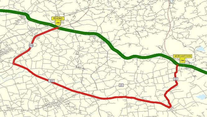 The detour while the Pennsylvania Turnpike is closed westbound on Thursday between Morgantown and Reading. (Pennsylvania Turnpike image)